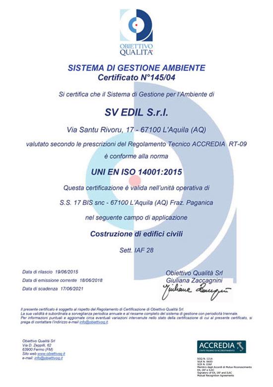 certificazione SVedil